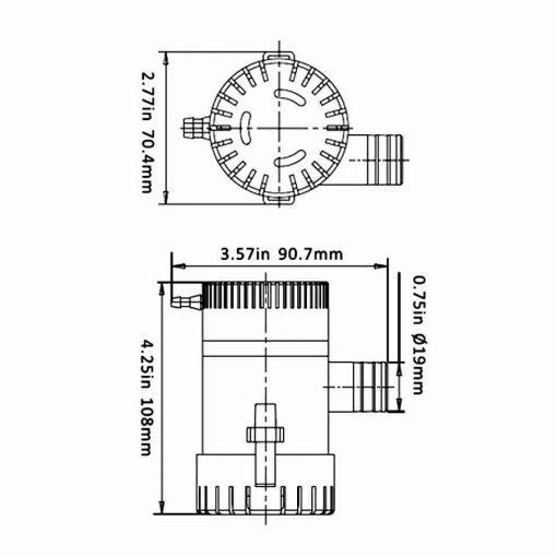 Bomba De Achique Electrica 750 gph 12 v Torque Marine